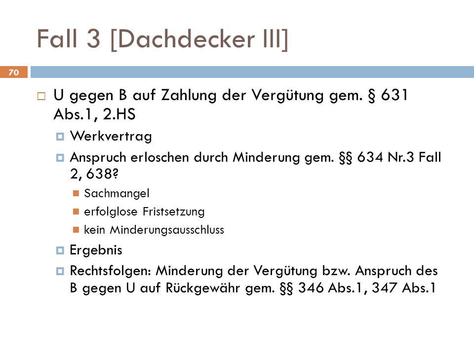 Fall 3 [Dachdecker III] U gegen B auf Zahlung der Vergütung gem. § 631 Abs.1, 2.HS. Werkvertrag.